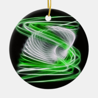 Twisted 1 Green Double-Sided Ceramic Round Christmas Ornament