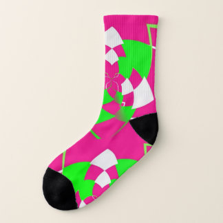 Twisted argyle in hot pink and hot green on socks 1