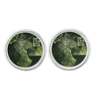 Twisted Balance Abstract Art Silver Plated Cufflinks