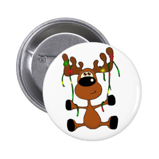 Twisted Christmas Moose 6 Cm Round Badge