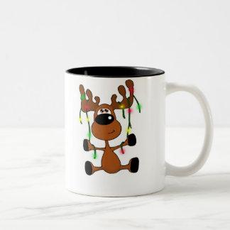 Twisted Christmas Moose Two-Tone Mug