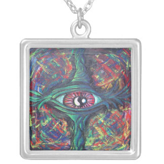 Twisted Eye Oil Painting for College Dorm Room Necklaces