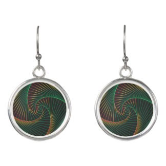 Twisted - Green and Red Earrings