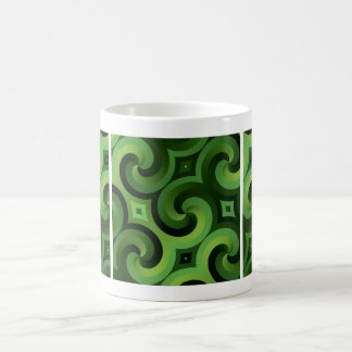 Twisted Green Interconnected Spiral Wallpaper Basic White Mug