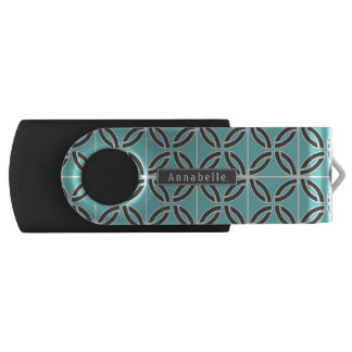 Twisted Lines in Mint & Gray w/ Name (Front/Back) USB Flash Drive
