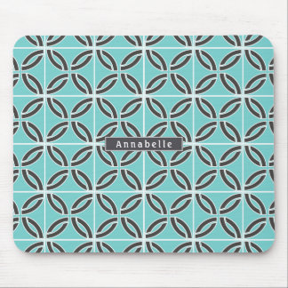 Twisted Lines in Mint & Gray w/ Name Mouse Mat