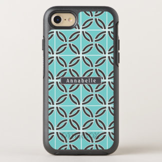 Twisted Lines, Mint and Gray w/ Name OtterBox Symmetry iPhone 8/7 Case