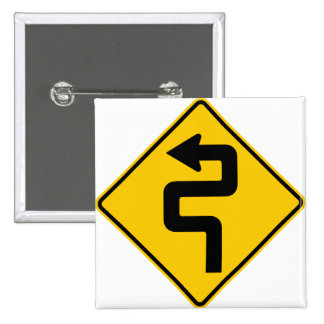 Twisted Road Ahead Highway Sign 15 Cm Square Badge