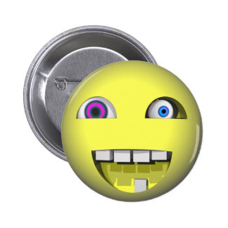 Twisted Smiley With Crazy Eyes Pinback Buttons
