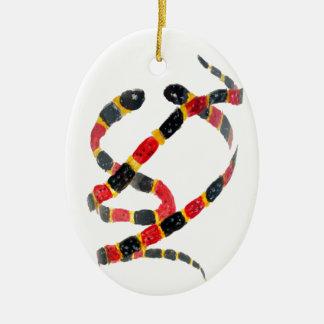 Twisting Snake Art Ceramic Oval Decoration