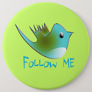 Twitter Bird Follow Me- Choose Background Color 6 Cm Round Badge