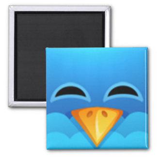 Twitter blue bird face square magnet