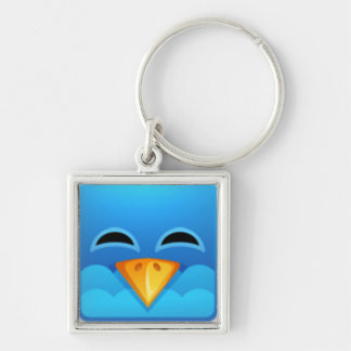 Twitter blue bird Silver-Colored square key ring