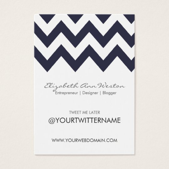 Twitter Business Cards in Navy Chevron - Portrait