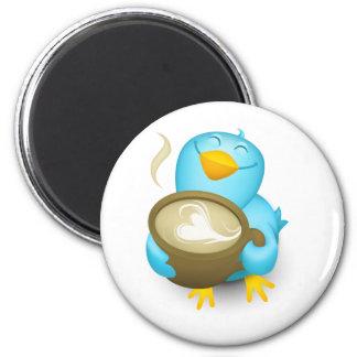Twitter Coffee Bird 6 Cm Round Magnet