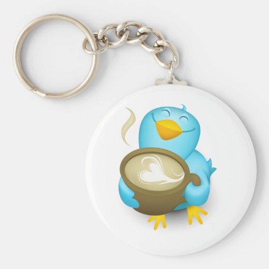 Twitter Coffee Bird Basic Round Button Key Ring
