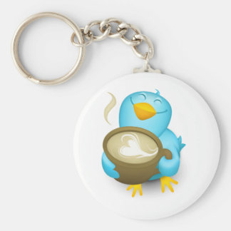 Twitter Coffee Bird Key Ring