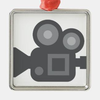 Twitter Emoji - Camera film making Silver-Colored Square Decoration