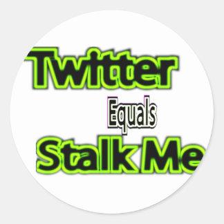 twitter equals stalk me sticker's classic round sticker
