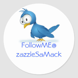 Twitter Follow Me @ Your User Name Round Sticker