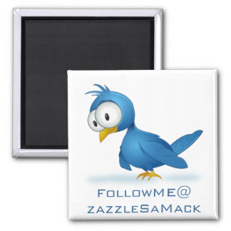 Twitter Follow Me @ Your User Name Square Magnet