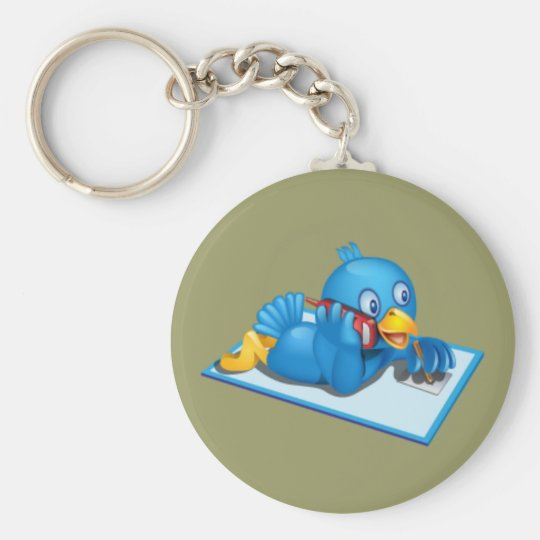 Twitter On The Phone Basic Round Button Key Ring