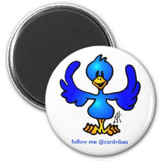 Twittering blue Bird 6 Cm Round Magnet