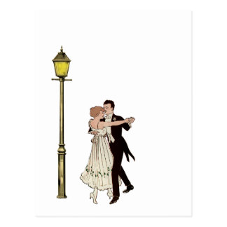 Two 1920 s Dancers and Street Light Post Card