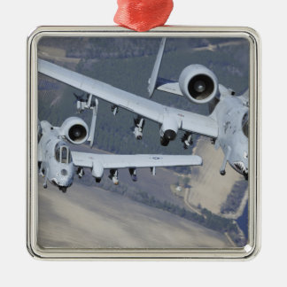 Two A-10C Thunderbolt II aircraft fly in format Christmas Ornament