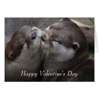 Two Adorable Otters - Happy Valentine's Day Greeting Card