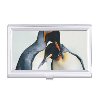 Two affectionate penguins business card holder