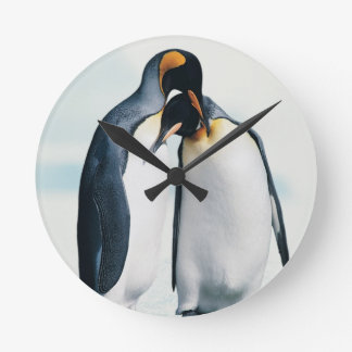 Two affectionate penguins round clock