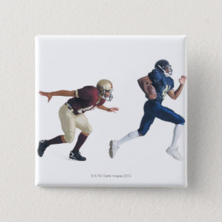 two african american american football players 15 cm square badge