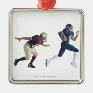 two african american american football players Silver-Colored square decoration