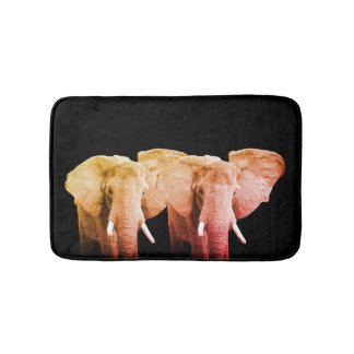 Two African Elephants on Black Bath Mats
