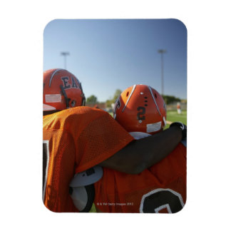 Two American football players looking at playing Rectangular Photo Magnet