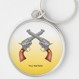 Two American Old West Pistols Crossed Key Ring