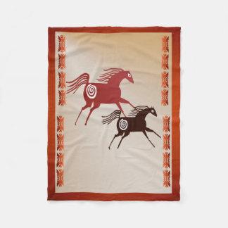 Two Ancient Horses Fleece Blanket