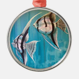 Two angel fish with silver and black and blue christmas ornament