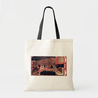 Two Angels And Two Devils Argue Before An Altar To Budget Tote Bag