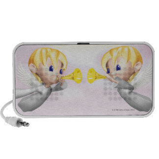 Two angels blowing horns, CG, 3D, Illustration, Portable Speaker