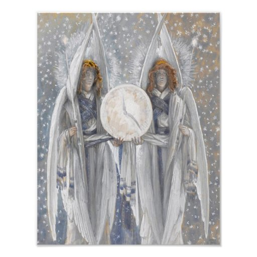 """""""Two Angels Holding a Clock"""" Repro Print Photo"""