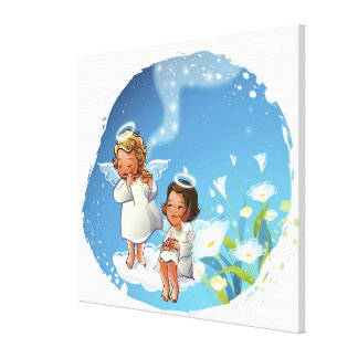 Two angels sitting on the clouds canvas print