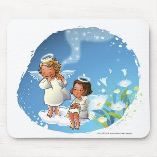Two angels sitting on the clouds mouse mat