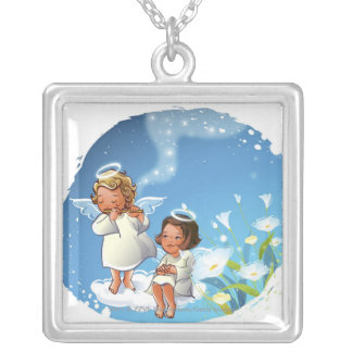 Two angels sitting on the clouds silver plated necklace