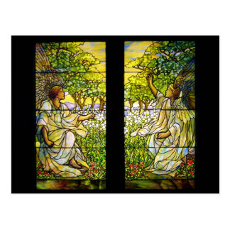 Two Angels Vintage Stained Glass Window Postcard