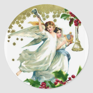 Two Angels with Bells Christmas Classic Round Sticker