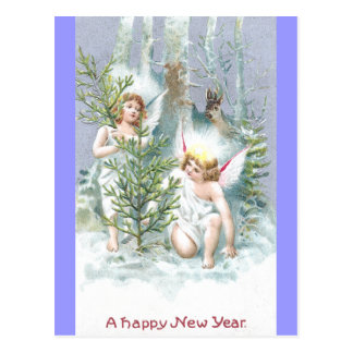 Two Angels with Pine Trees and Deer Postcard