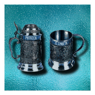 Two Anniversary Wedding Named Beer Mugs Steins Poster