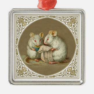 Two Anthropomorphic Mice Reading Christmas Ornament
